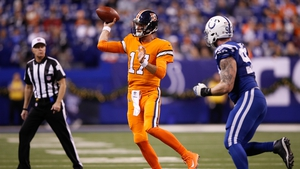 Brock Osweiler of the Denver Broncos throws a pass against the Indianapolis Colts