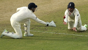 Mark Stoneman and Jonny Bairstow of England drop Shaun Marsh of Australia