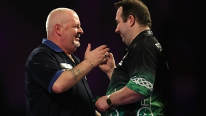Brendan Dolan (r) was appearing at the Worlds for the tenth year in a row