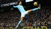 Manchester City's Leroy Sane  controls the ball