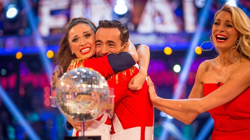 They are the Champions - The shocked Joe McFadden and Katya Jones are congratulated by Strictly host Tess Daly as their win is announced on Saturday night