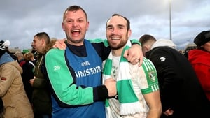 Moorefield's Kevin Murnaghan (R) celebrates after the game with manager Ross Galvin