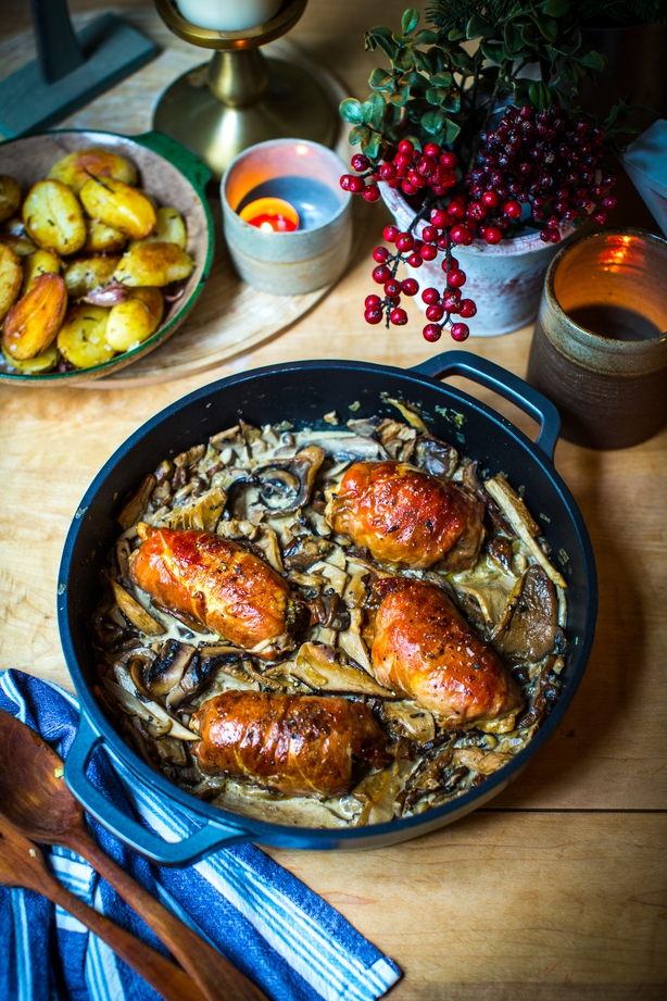 Rolled Turkey Breast w creamy forest mushrooms Donal Skehan