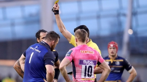 Healy is shown a yellow card against the Chiefs