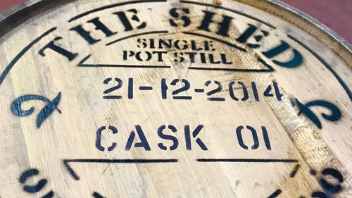 The cask was one of a number of the first-ever to be distilled at The Shed in 2014, with the distillery founders - PJ and Denise Rigney - officially opening it