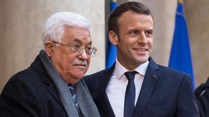 Palestinian President Mahmoud Abbas met French President Emmanuel Macron in Paris