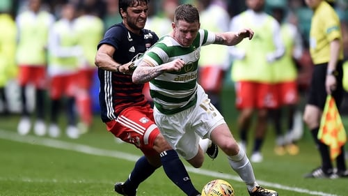 Hayes was stretchered off against Dundee