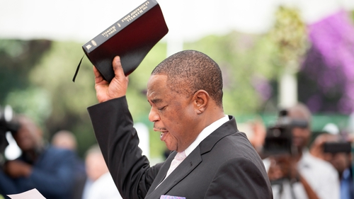 Constantino Chiwenga takes the oath of office in Harare