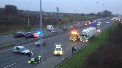 Emergency services at the scene on the N7 Northbound (Pic: Hugh McCreevy)