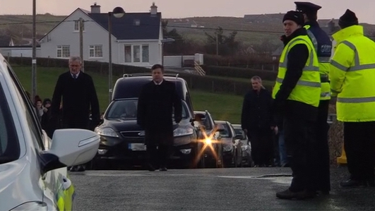 Funeral takes place of Declan Davitt, one of the two men killed on Christmas Day when their vehicle left the road and entered a river at Lou