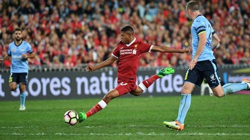 Liverpool's Rhian Brewster (C) in action against Sydney FC