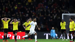 Luciano Narsingh turns away after scoring Swansea's winner
