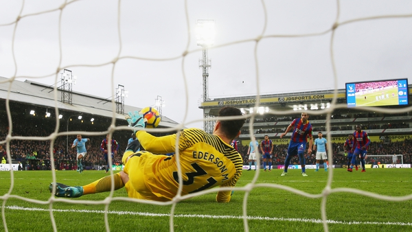 Crystal Palace's Luka Milivojevic has a late penalty saved by Ederson