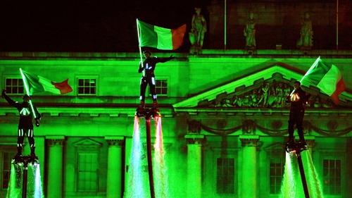 Members of Flyboard Ireland take part in the Liffey Lights festival in Dublin