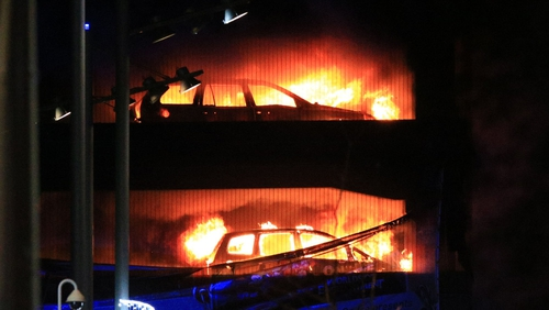 Cars on fire in the multi-storey car park