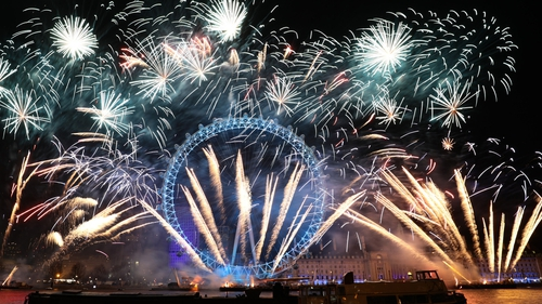 There were colourful firework displays in Sydney, Hong Kong and London (above)