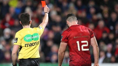 Sam Arnold was sent off for Munster