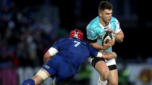 Josh van der Flier making one of his 34 tackles against Connacht at the RDS