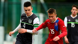 Darragh Leahy (l) in action for the Rep of Ireland U-18s in 2015