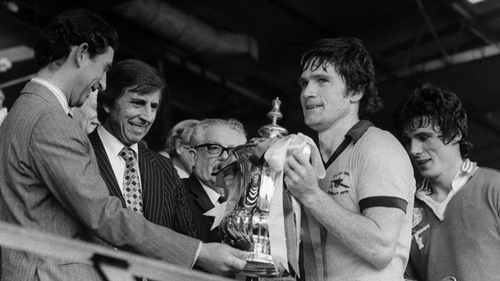 Arsenal captain Pat Rice with the FA Cup after the Londoners beat Manchester United 3-2 in the 1979 final