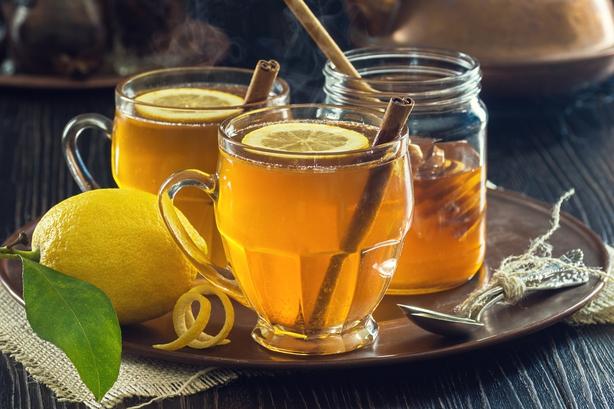 Two Mugs of Lemon Spice Herbal Tea or Hot Toddies