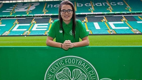 Keeva Keenan will line out in the famous green and white hoops in 2018 (photo courtesy of CelticFC.net)