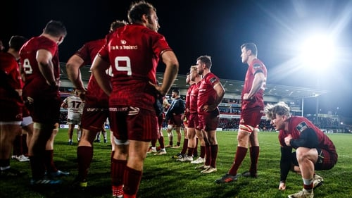 Munster players dejected after their loss to Ulster