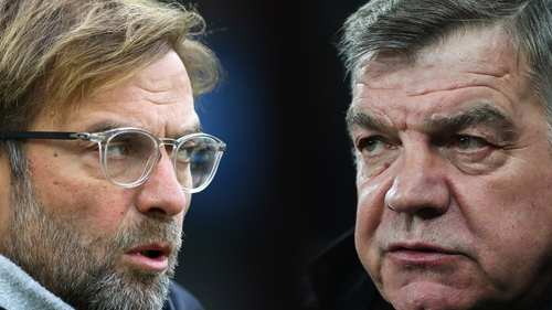 Jurgen Klopp (L) and Sam Allardyce's sides clash at Goodison today