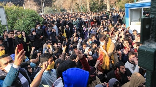 Students protesting in Tehran at the end of December