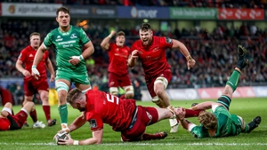 Darren O'Shea scores the opening try in tonight's Munster-Connacht game in Thomond Park