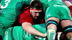 Munster's Jean Kleyn find a gap in the Connacht defence