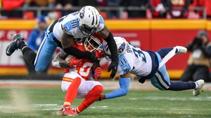 Kansas City Chiefs wide receiver Tyreek Hill (10) is tackled by outside linebacker Brian Orakpo (98) and free safety Kevin Byard (31) of the Tennessee Titans