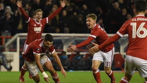 Nottingham Forest's Eric Lichaj (2L) celebrates his brilliant second