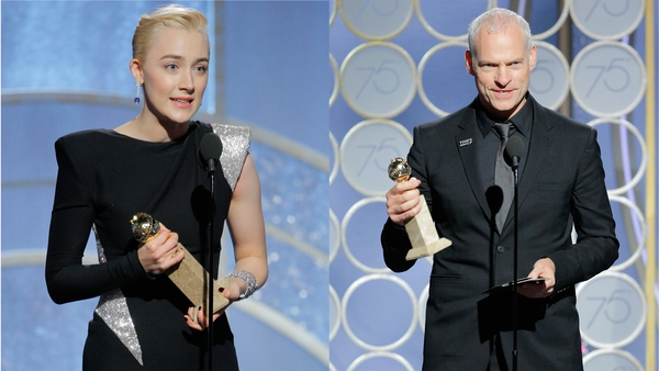 Saoirse Ronan and Martin McDonagh accept their awards