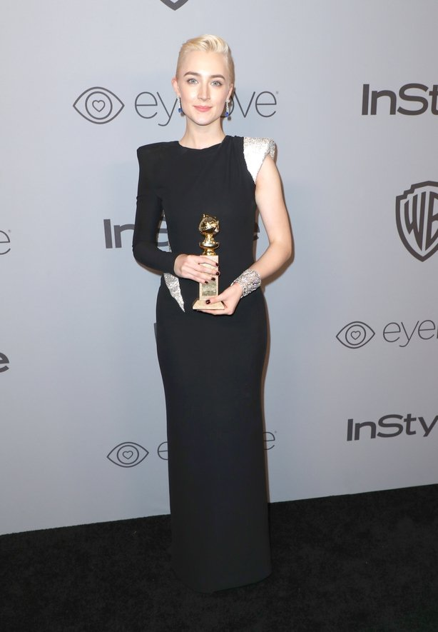 Saoirse Ronan wore this Atelier Versace dress at the Golden Globes on Sunday