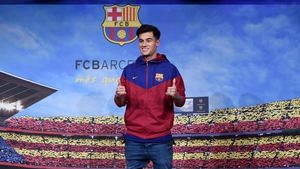 The £142 million man: Philippe Coutinho completes his move from Liverpool to Barcelona