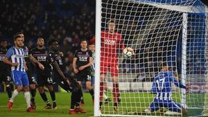 Glenn Murray's goal initially looked like handball