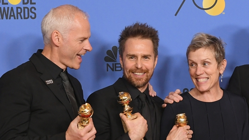 Martin McDonagh, Sam Rockwell and Frances McDormand at this year's Golden Globes