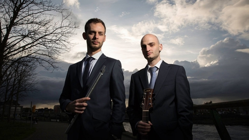 Austrian whistle player and piper Geza Frank and French guitarist Jean Damei, AKA Event Horizon