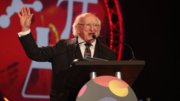 President Michael D. Higgins launches this year's BT Young Scientist and Technology Exhibition.
