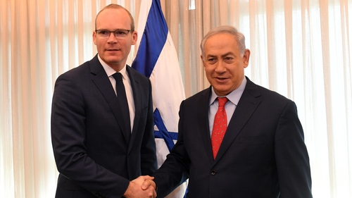 Tánaiste Simon Coveney pictured with Israeli Prime Minister Benjamin Netanyahu