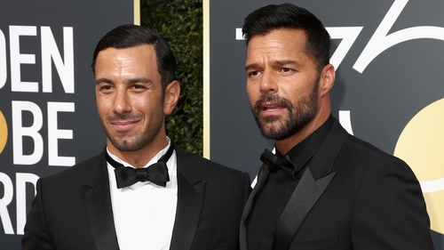 Jwan Yosef and Ricky Martin at the Golden Globes in Beverly Hills on Sunday night