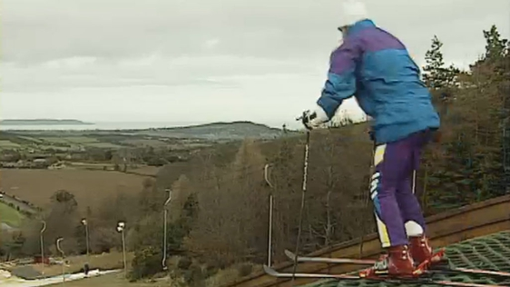 Member of the Irish Ski team training at Kilternan dry slopes (1993)