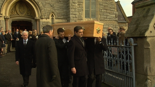 Peter Sutherland was buried after funeral mass in Donnybrook church