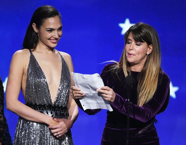 Gal Gadot (L) and director Patty Jenkins accept Best Action Movie for 'Wonder Woman'