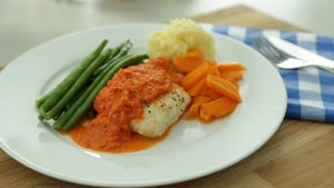Hake with Roasted Red Pepper Sauce