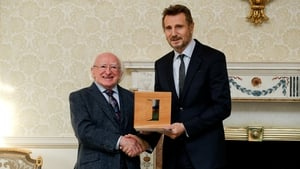 President Michael D Higgins and Liam Neeson. Image: Twitter.com/PresidentIrl