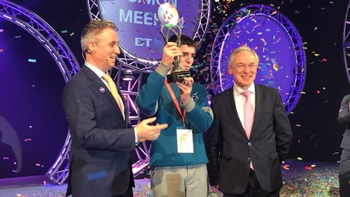 Simon Meehan from Coláiste Choilm in Ballincollig, Co Cork, pictured with Shay Walsh, Managing Director of BT Ireland (left) and Minister for Education Richard Bruton (right)