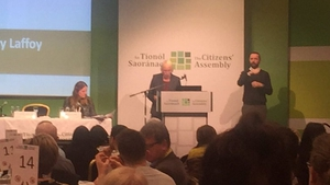 Chairperson of the Citizens' Assembly Ms Justice Mary Laffoy addressing assembly members