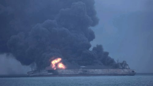 The Iranian oil tanker was still blazing a week after it caught fire following a collision in the East China Sea